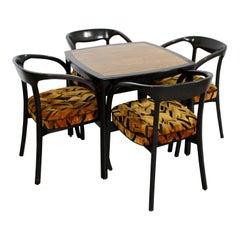 Mid-Century Modern Wormley Dunbar Rosewood Mahogany Game Table 4 Chairs, 1970s