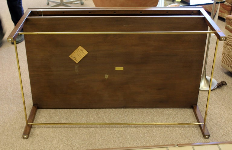 Mid-Century Modern Wormley Dunbar Walnut and Brass Coffee, Occasional Table For Sale 5