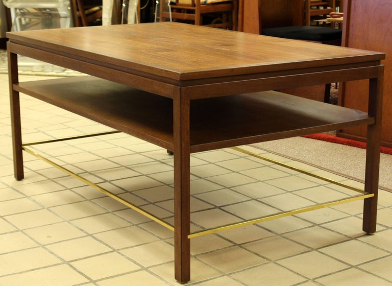 American Mid-Century Modern Wormley Dunbar Walnut and Brass Coffee, Occasional Table For Sale