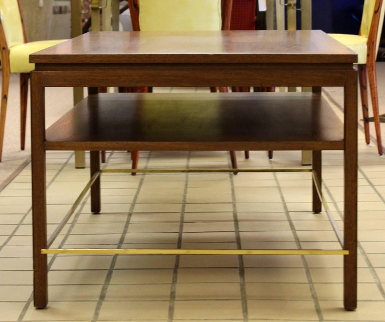 Mid-Century Modern Wormley Dunbar Walnut and Brass Coffee, Occasional Table In Good Condition For Sale In Keego Harbor, MI