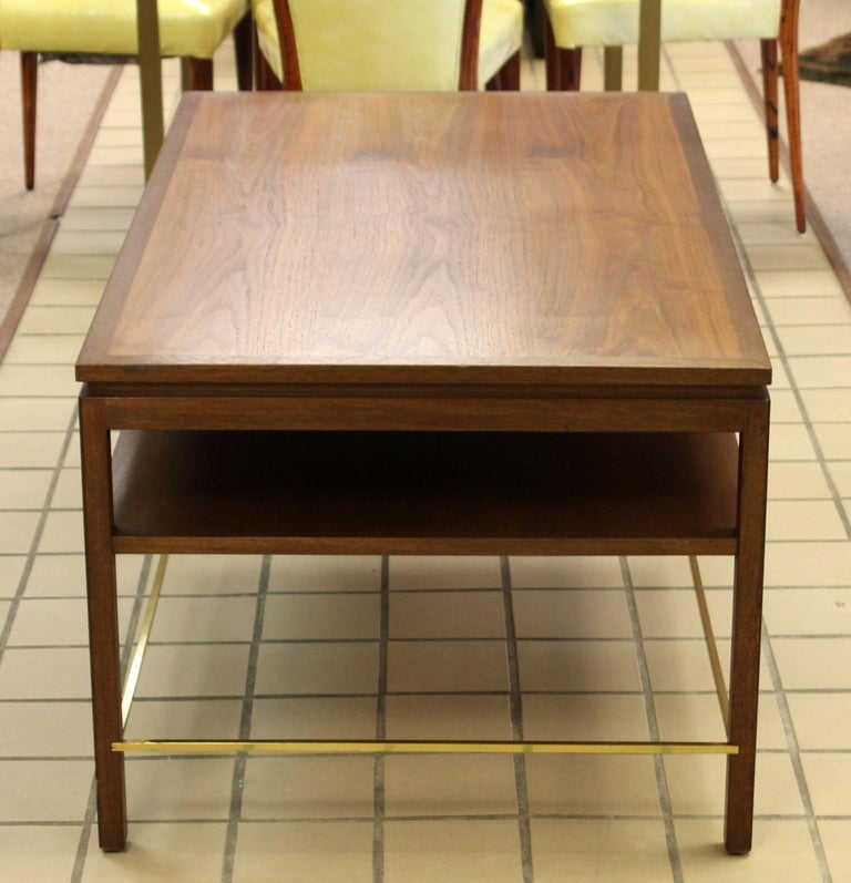 Mid-20th Century Mid-Century Modern Wormley Dunbar Walnut and Brass Coffee, Occasional Table For Sale
