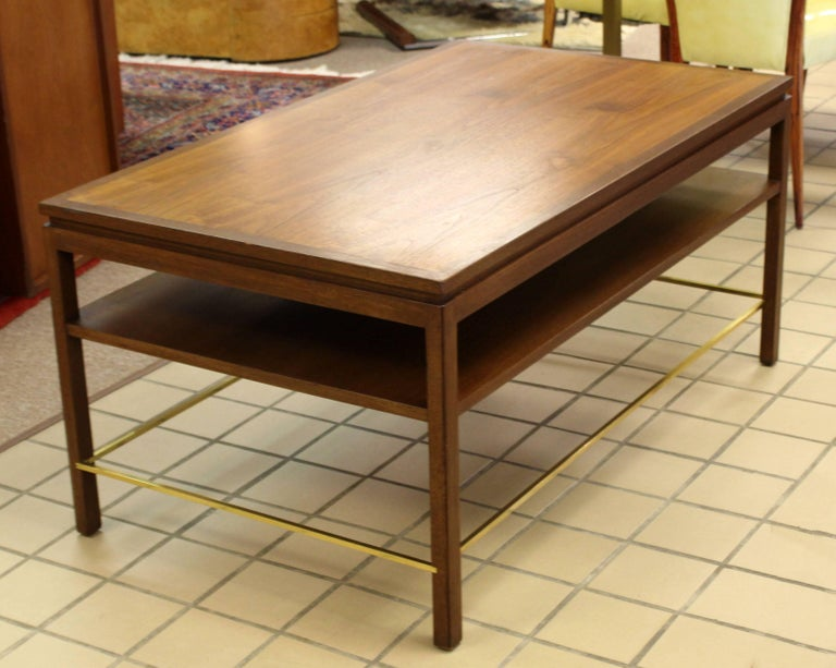 Mid-Century Modern Wormley Dunbar Walnut and Brass Coffee, Occasional Table For Sale 1