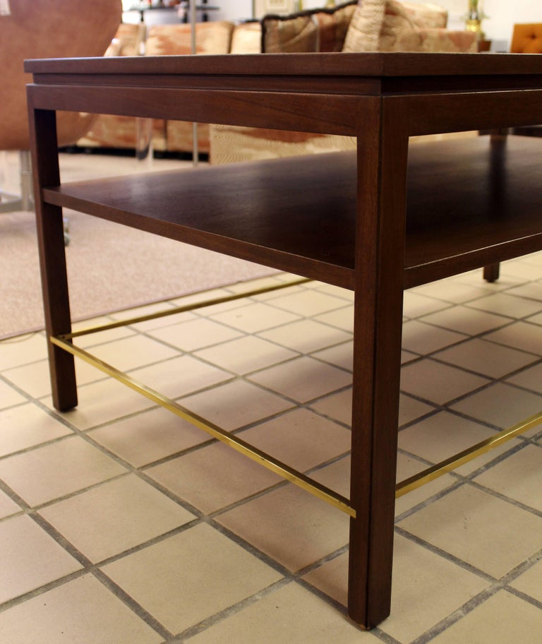 Mid-Century Modern Wormley Dunbar Walnut and Brass Coffee, Occasional Table For Sale 3