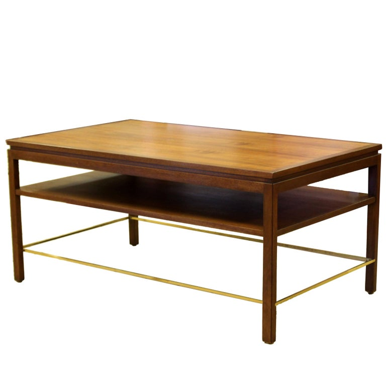 Mid-Century Modern Wormley Dunbar Walnut and Brass Coffee, Occasional Table For Sale