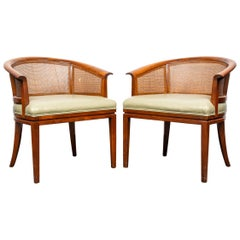 Mid-Century Modern Wormley Style Barrel and Caned Back Armchairs