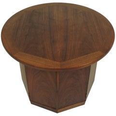 Mid-Century Modern Wormley Style Walnut Hexagonal End Table Cabinet