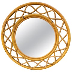 Mid-Century Modern Woven Bamboo and Rattan Round Wall Mirror, Italy, 1960s