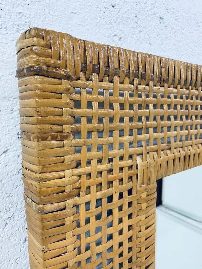Mid-Century Modern Woven Rattan Wall Mirror For Sale 5