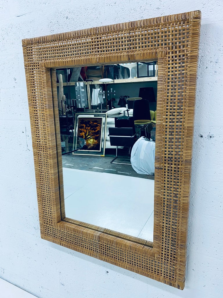 Unknown Mid-Century Modern Woven Rattan Wall Mirror For Sale