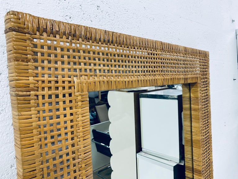 Mid-Century Modern Woven Rattan Wall Mirror For Sale 2