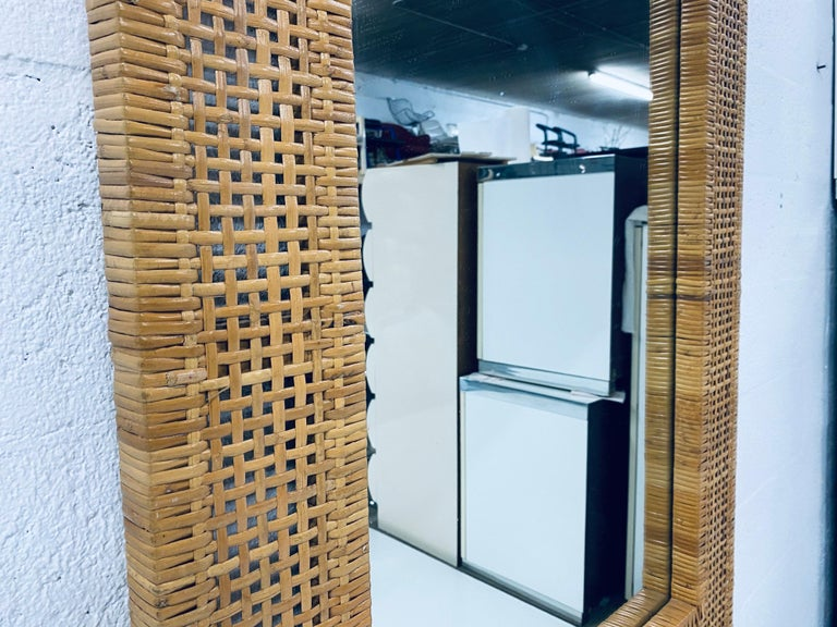 Mid-Century Modern Woven Rattan Wall Mirror For Sale 3