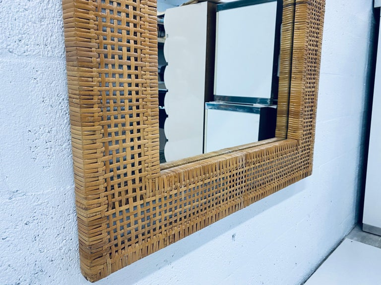 Mid-Century Modern Woven Rattan Wall Mirror For Sale 4