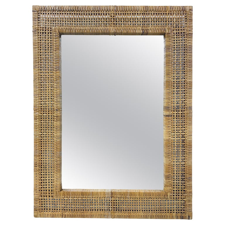 Mid-Century Modern Woven Rattan Wall Mirror For Sale