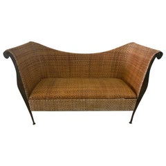 Mid-Century Modern Woven Wicker and Iron Canapé/Sofa