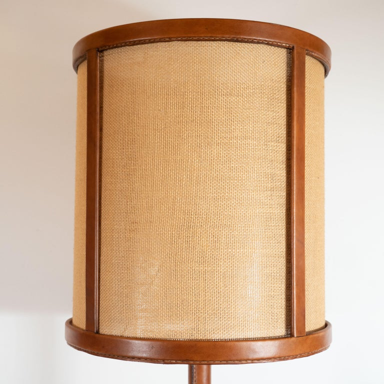 Mid-Century Modern Wrapped Leather and Bronze Floor Lamp, Style of Jacques Adnet For Sale 3