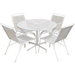 Mid-Century Modern Wrought Iron 5Pc Patio Garden Dining Set 4 Chairs Round Table