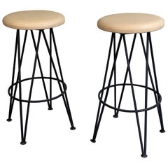 Mid-Century Modern Wrought Iron Bar Stools