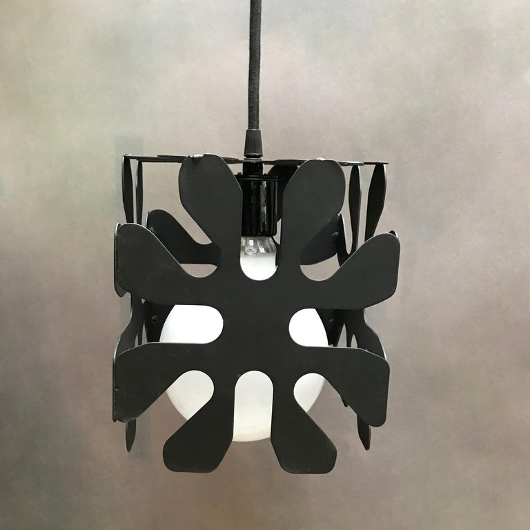 American Mid-Century Modern Wrought Iron Cubed Flower Pendant Light For Sale