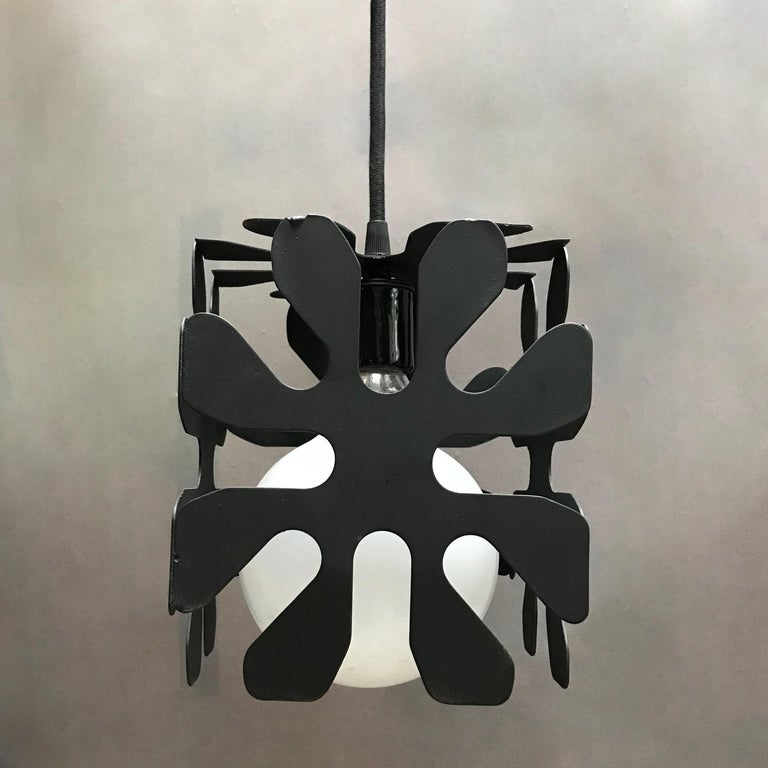Mid-Century Modern Wrought Iron Cubed Flower Pendant Light For Sale 1