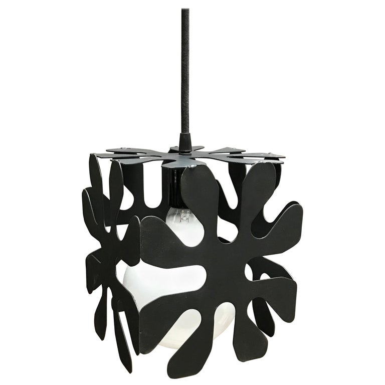 Mid-Century Modern Wrought Iron Cubed Flower Pendant Light For Sale