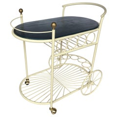 Mid-Century Modern Mixed Metal and Brass Rolling Bar Cart Trolley