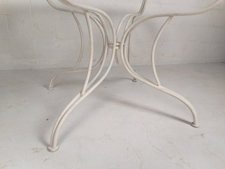 Mid-Century Modern Wrought Iron Patio Dining Table and Six Chairs For Sale 6