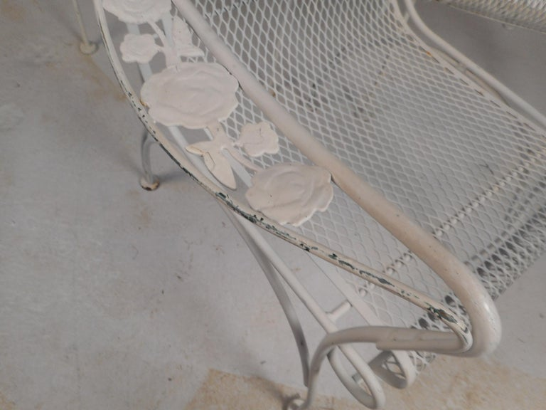 Mid-Century Modern Wrought Iron Patio Dining Table and Six Chairs For Sale 8