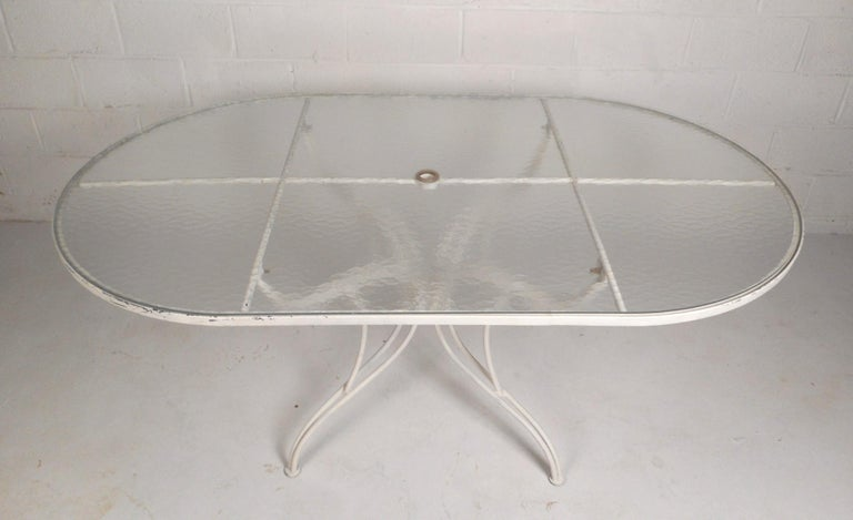 Glass Mid-Century Modern Wrought Iron Patio Dining Table and Six Chairs For Sale