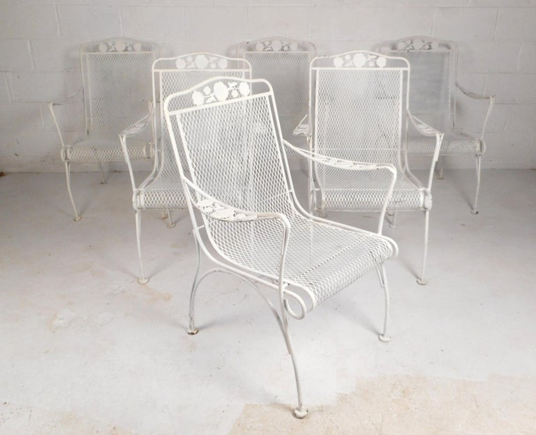 Mid-Century Modern Wrought Iron Patio Dining Table and Six Chairs For Sale 2