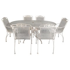 Mid-Century Modern Wrought Iron Patio Dining Table and Six Chairs