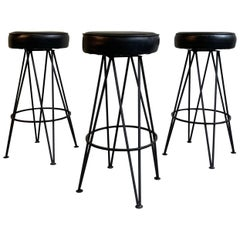 Mid-Century Modern Wrought Iron Upholstered Bar Stools