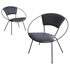 Mid-Century Modern Wrought Iron Upholstered Hoop Chairs