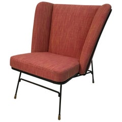 Mid-Century Modern Wrought Iron Upholstered Wingback Chair
