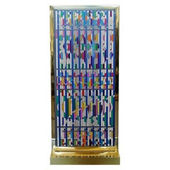 Mid-Century Modern Yaacov Agam Silkscreen in Brass Shalom Window Sculpture