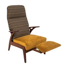 Mid-Century Modern Yellow Armchair with Pull-Out Footrest, 1960