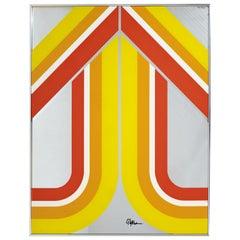 Mid-Century Modern Yellow Mirrored Pop Wall Art Sculpture Panton Copeland Era