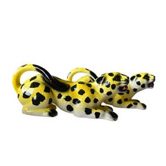 Mid-Century Modern Yellow Spotted Ceramic Leopards or Cheetahs Set of Two
