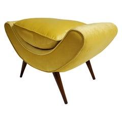 Mid-Century Modern Yellow Velvet Splay Leg Bench/ Slipper Chair/ Pouf/ Seat
