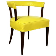 Mid-Century Modern Yellow Vinyl and Oak Barrel Back Side Chair