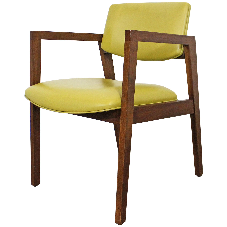 Mid-Century Modern Yellow Walnut Armchair