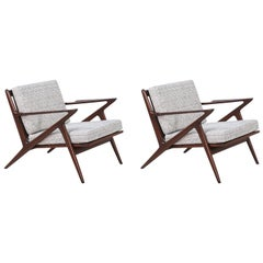 "Mid-Century Modern ""Z"" Lounge Chairs by Poul Jensen for Selig"