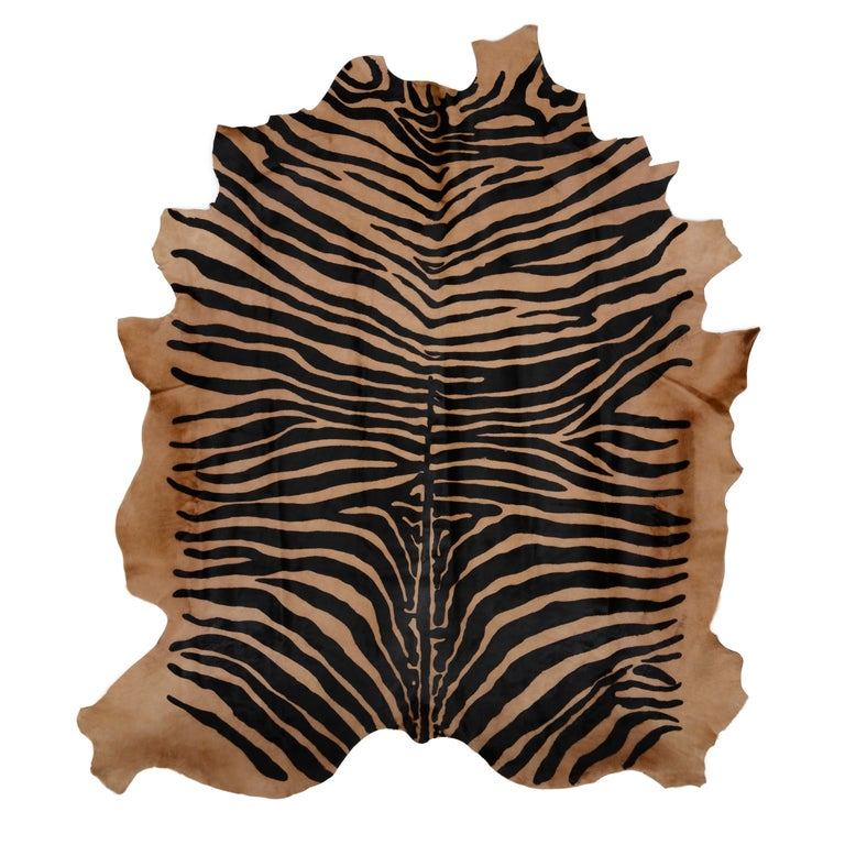Contemporary Mid-Century Modern Style Zebra Stenciled Cowhide Hair Upholstered Bench For Sale