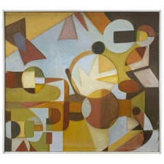 Mid-Century Modernist Abstract Geometric Oil Signed Denise Schwartz, d. 1978