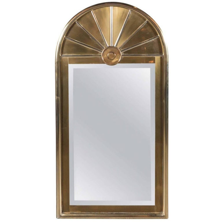 Mid-Century Modernist Arch Form Mirror in Brushed Brass by Mastercraft