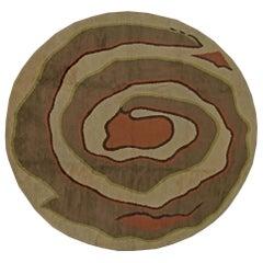 Mid-Century Modernist Art Deco Circular Wool Rug in Cool Brown, Orange and Green