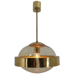 Mid-Century Modernist Brass and Hand-Blowed Glass Pendant, 1960s