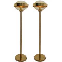 Mid-Century Modernist Brass Floor Lamps with Hand-Blowed Glass, 1960s