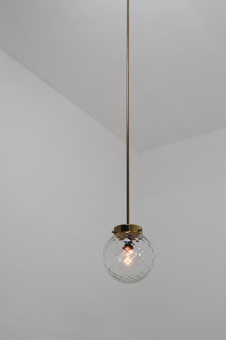 Mid-Century Modernist Brass Pendants Lights with Structure Glass, 1970s In Good Condition For Sale In Almelo, NL