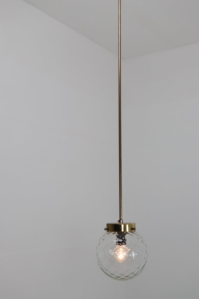 Mid-Century Modernist Brass Pendants Lights with Structure Glass, 1970s For Sale 4