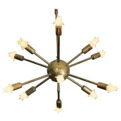 Mid-Century Modernist Brass Sputnik Chandelier